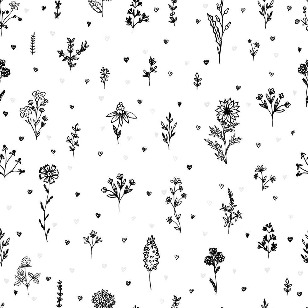 romantiskt sömlöst tryck med handritade blommor, kvistar, örter och hjärtan. svartvitt tryck. vektor