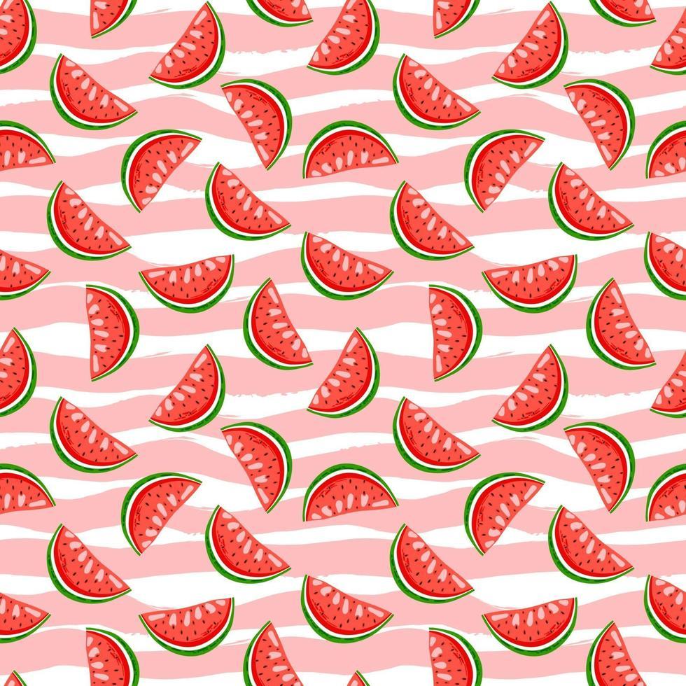 söt vattenmelon på ränder bakgrund. sommar sömlösa mönster. vektor