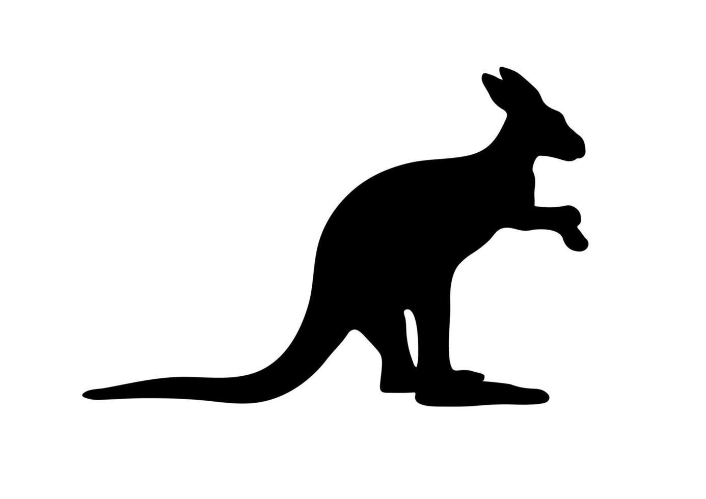schwarze Silhouette eines australischen Kängurus auf weißem Hintergrund. vektor