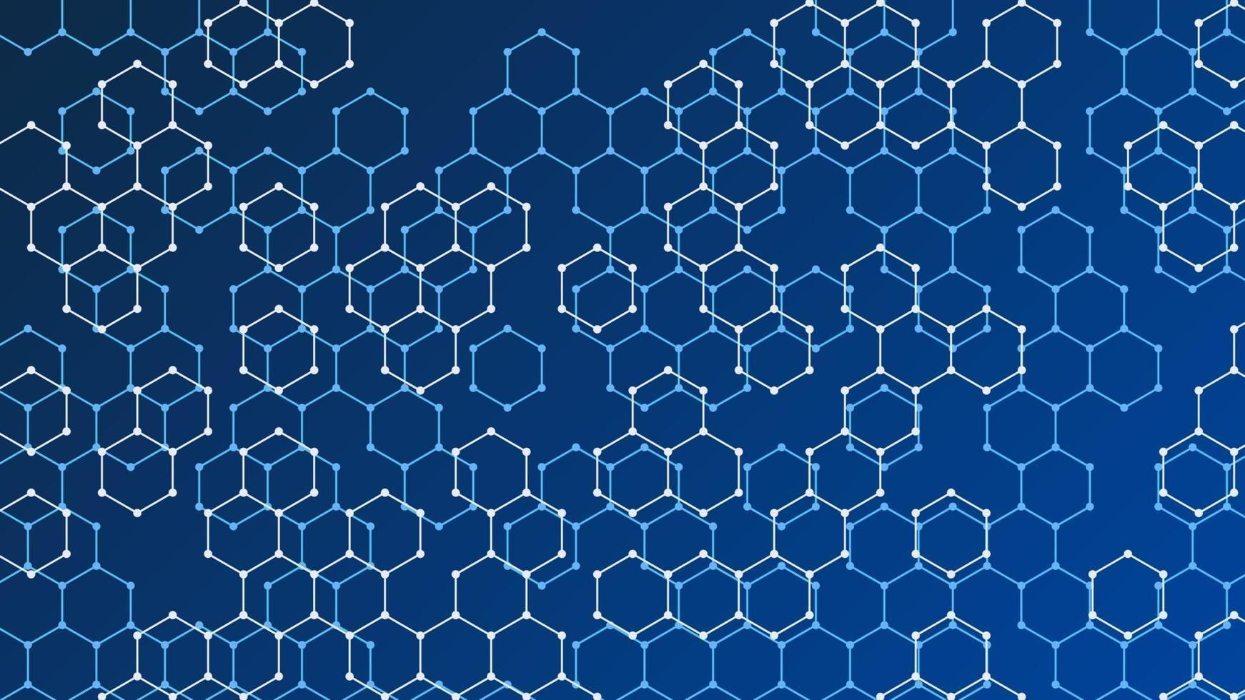 blå tonad bakgrund med två typer av hexagoner vektor