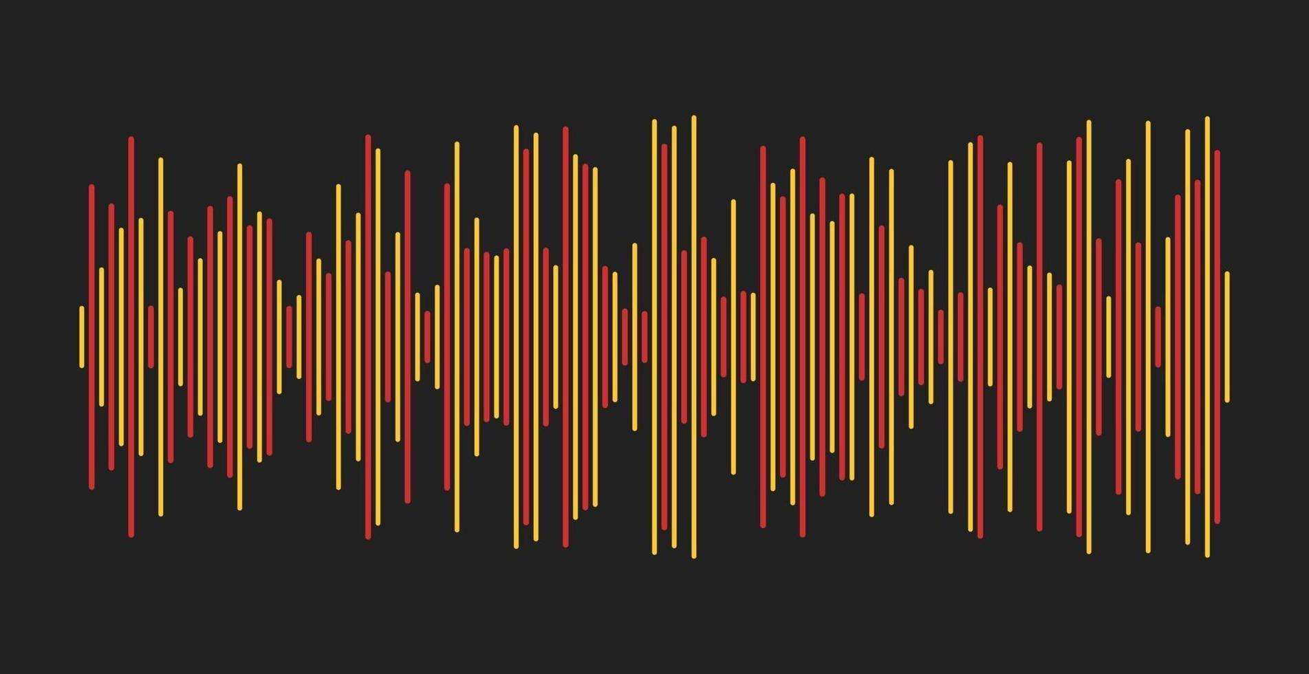 tvåfärgad ljudvåg på en mörk bakgrund vektor