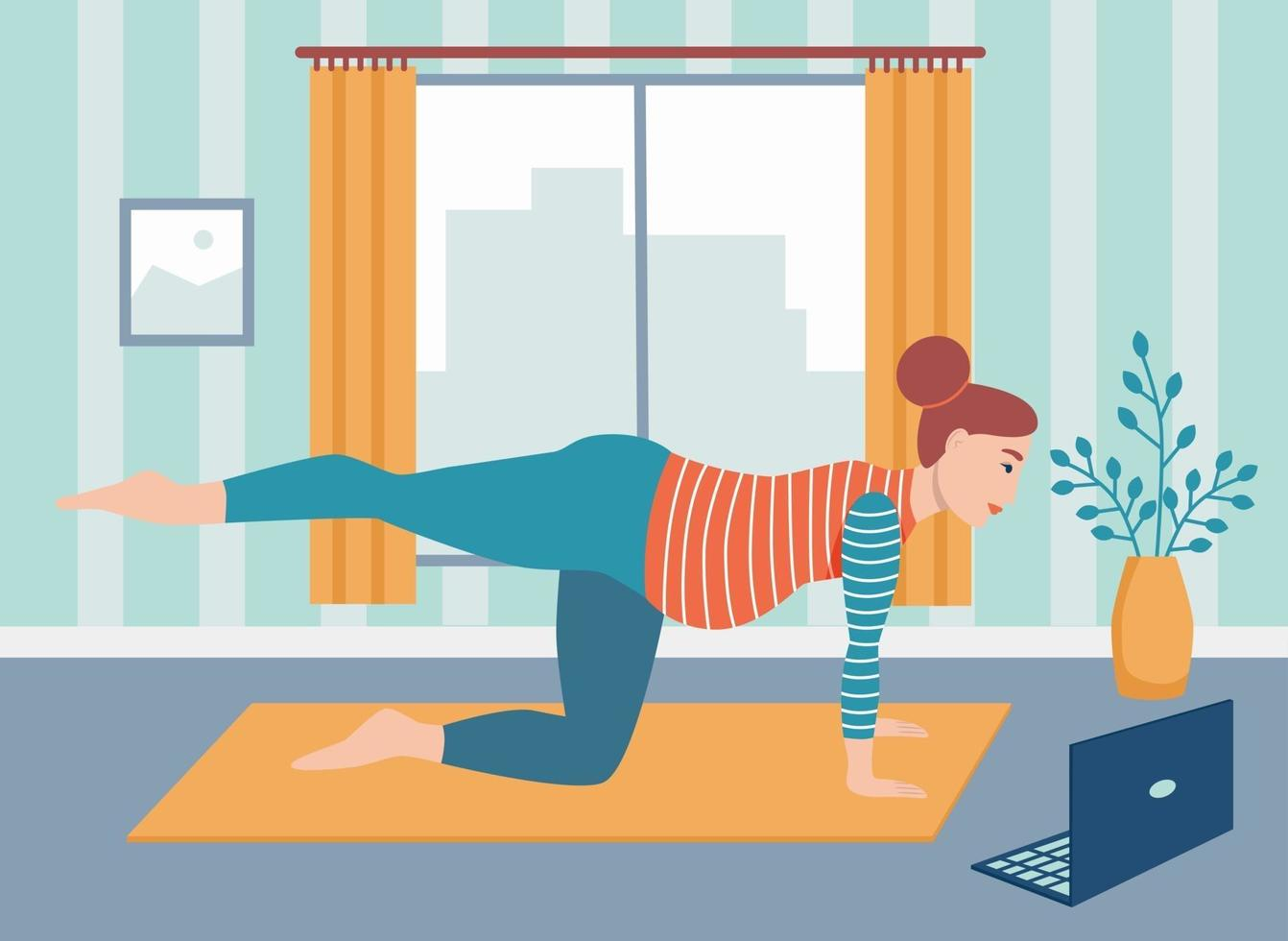 schwangere Frau macht Yoga zu Hause online. das Konzept der alltäglichen Aktivitäten und des täglichen Lebens. Online-Sport und Yoga, Quarantäne. flache Karikaturvektorillustration. vektor