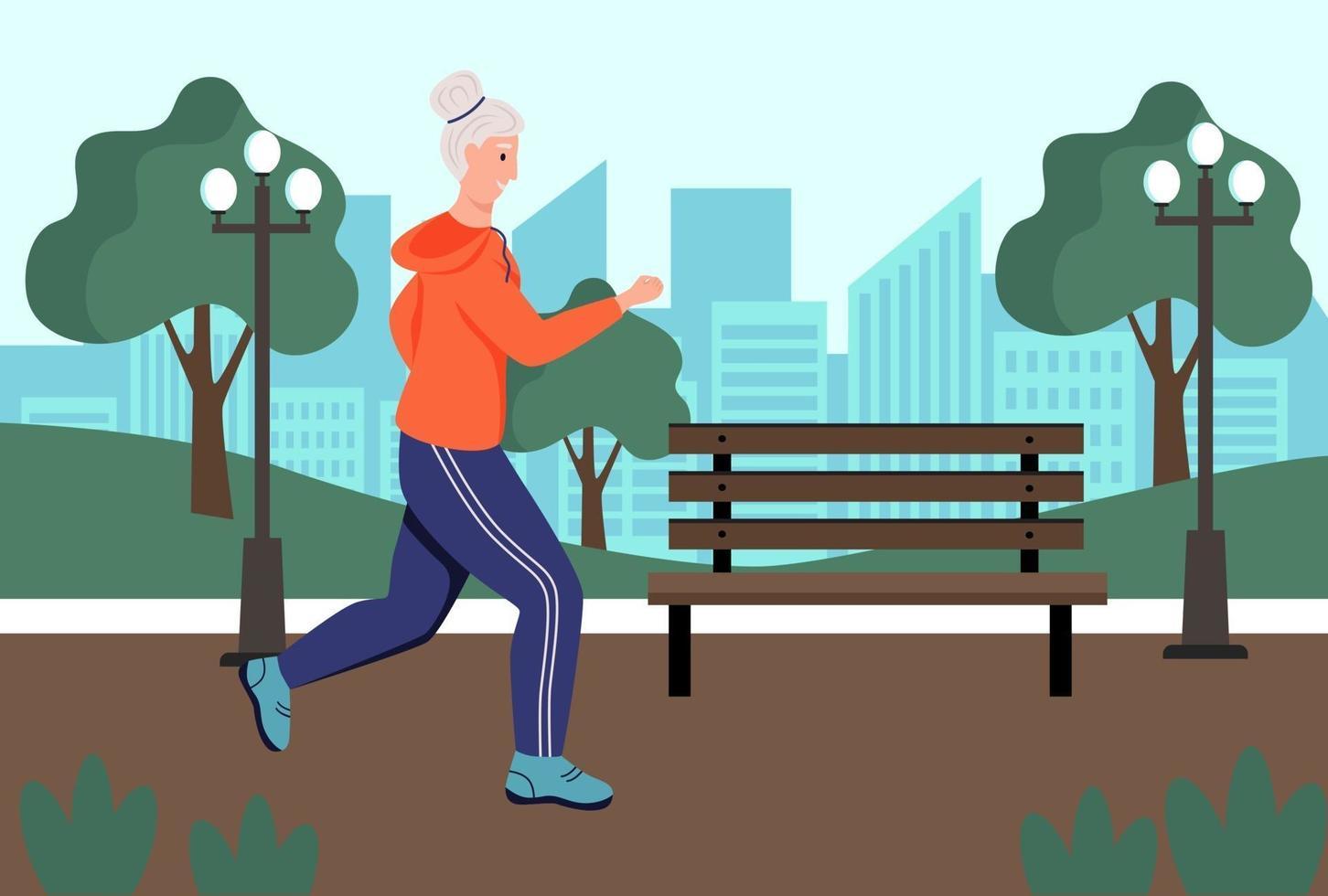 Eine ältere Frau rennt in den Park. das Konzept des aktiven Alters, des Sports und des Laufens. Tag der älteren Menschen. flache Karikaturvektorillustration. vektor