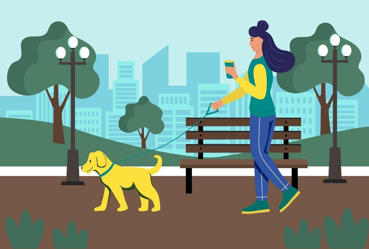 en ung kvinna med ett glas kaffe i händerna går med sin hund i parken. livsstil, stadslandskap, sommarpark. platt tecknad vektorillustration. vektor