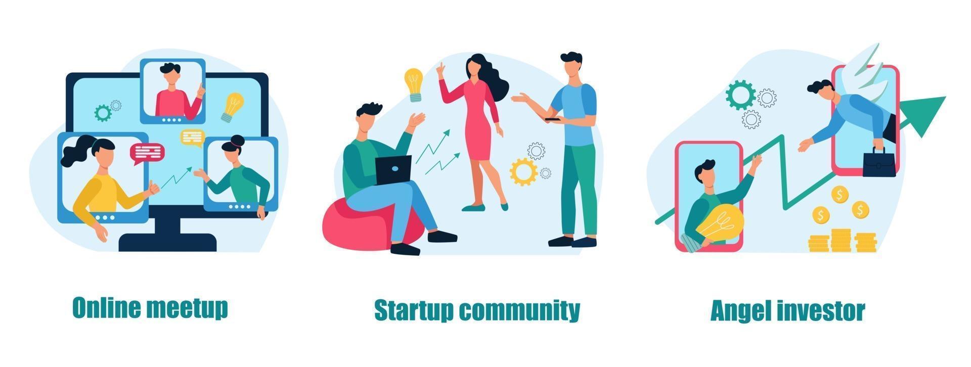 eine Reihe von Geschäftskonzepten und Metaphern. Online-Meetup, Startup-Community, Angel Investor. Teamwork, Geschäftsentwicklung. flache Karikaturvektorillustration. vektor