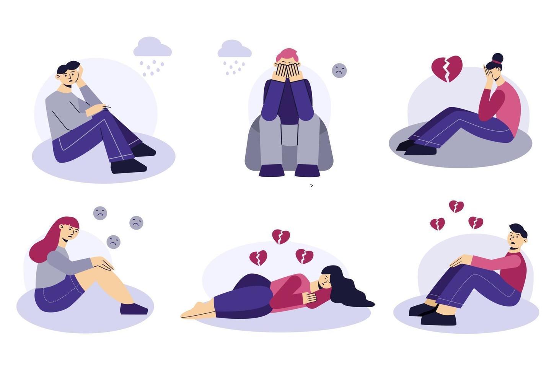 sorgliga människor uppsättning platta karaktärer. frustrerade unga män och kvinnor sitter och ligger på marken. trasigt hjärta, olycklig kärlek. begreppet frustration, depression, psykoterapi. vektor