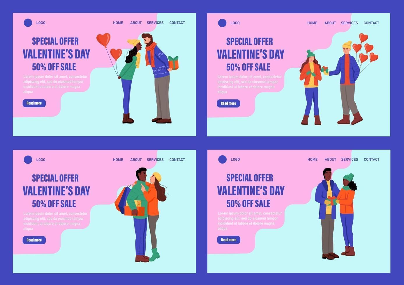 specialerbjudande alla hjärtans dag målsida vektor mall set. älskande par i vinterkläder med ballonger utbyter gåvor. fira traditionell webbevenemang för vinterevenemang. platt vektorillustration