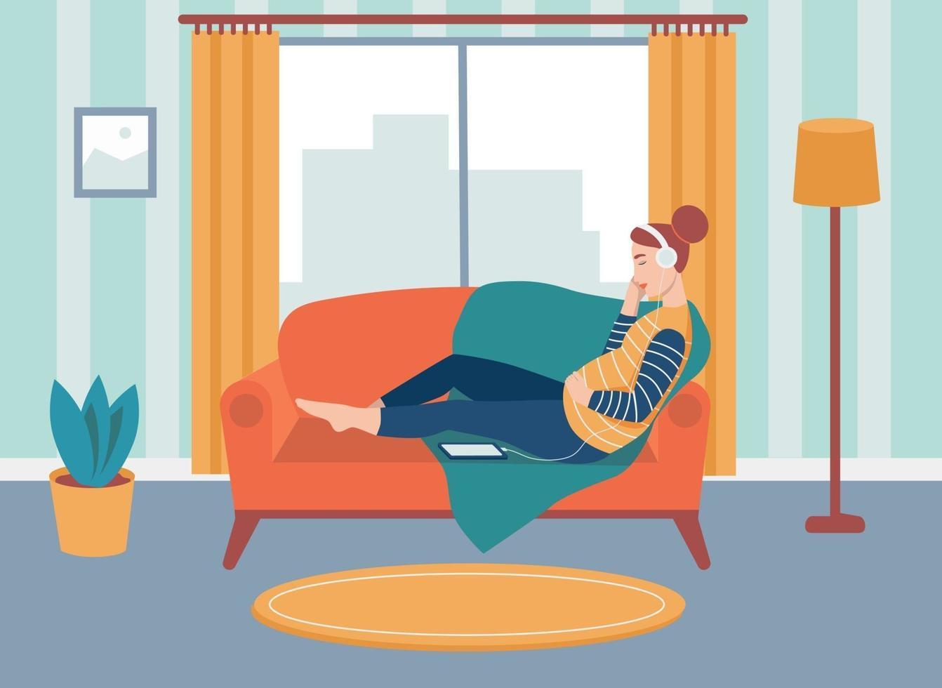en gravid kvinna sitter i soffan och lyssnar på musik med hörlurar. begreppet vardagliga aktiviteter och vardag. platt tecknad illustration. vektor