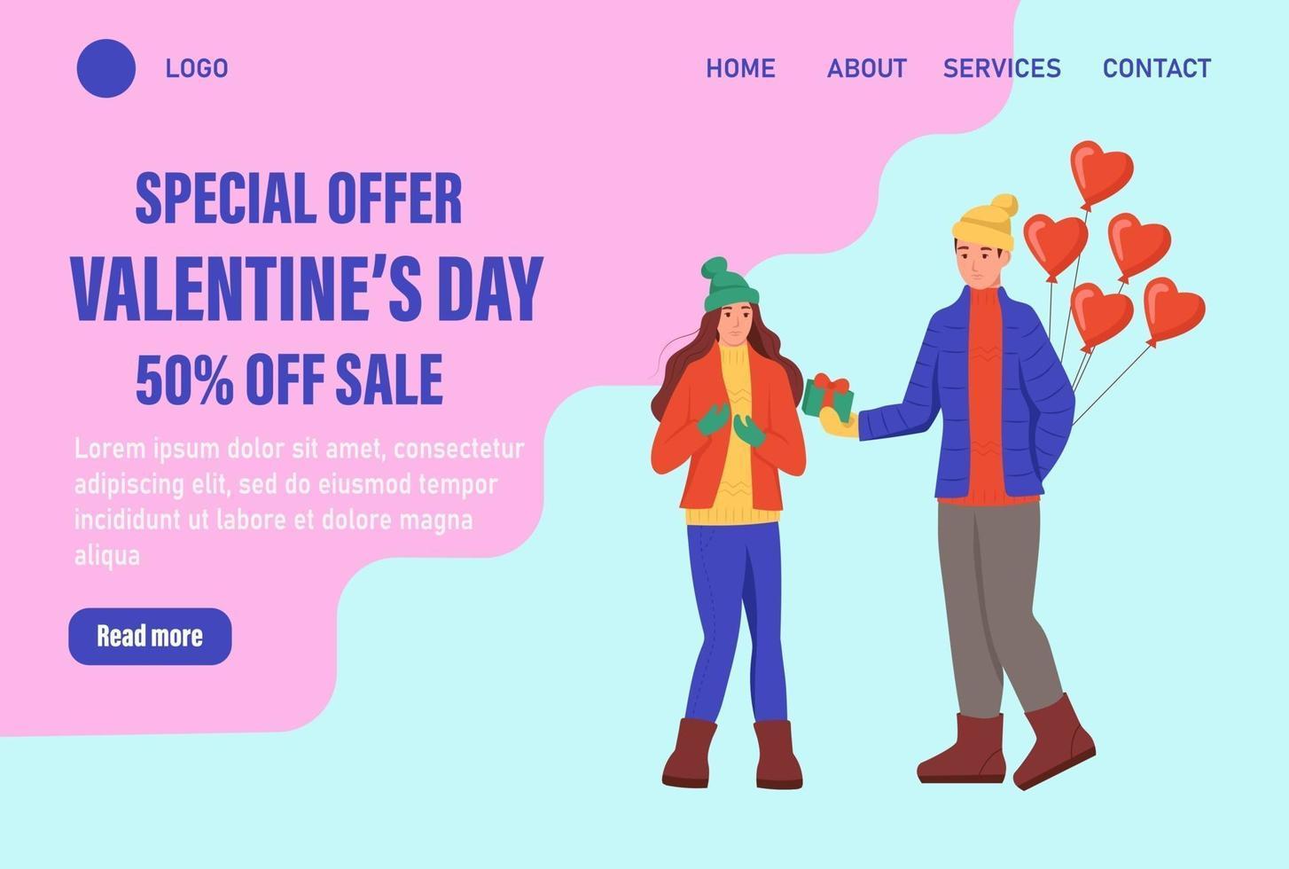 specialerbjudande alla hjärtans dag målsida vektor mall. älskande par i vinterkläder med ballonger utbyter gåvor. fira traditionell webbevenemang för vinterevenemang. platt vektorillustration