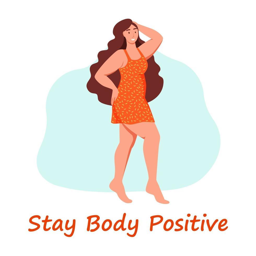 kurvig kvinna. plus storlek flicka. begreppet kroppspositivitet, självkärlek. älskar din kropp. platt tecknad vektorillustration. vektor