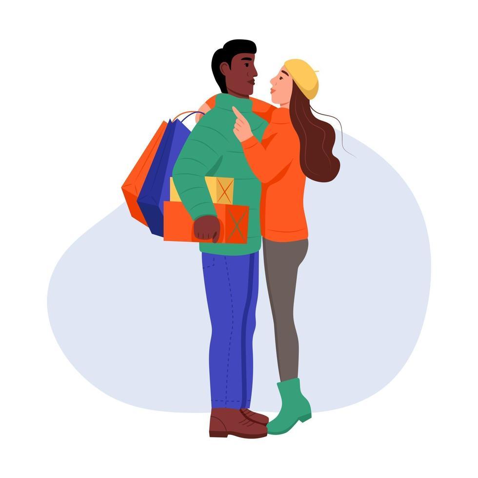 en ung man och en kvinna i vinterkläder med inköp och gåvor i sina händer. ett par i kärlek omfamnar. platt tecknad vektorillustration. alla hjärtans dag vektor