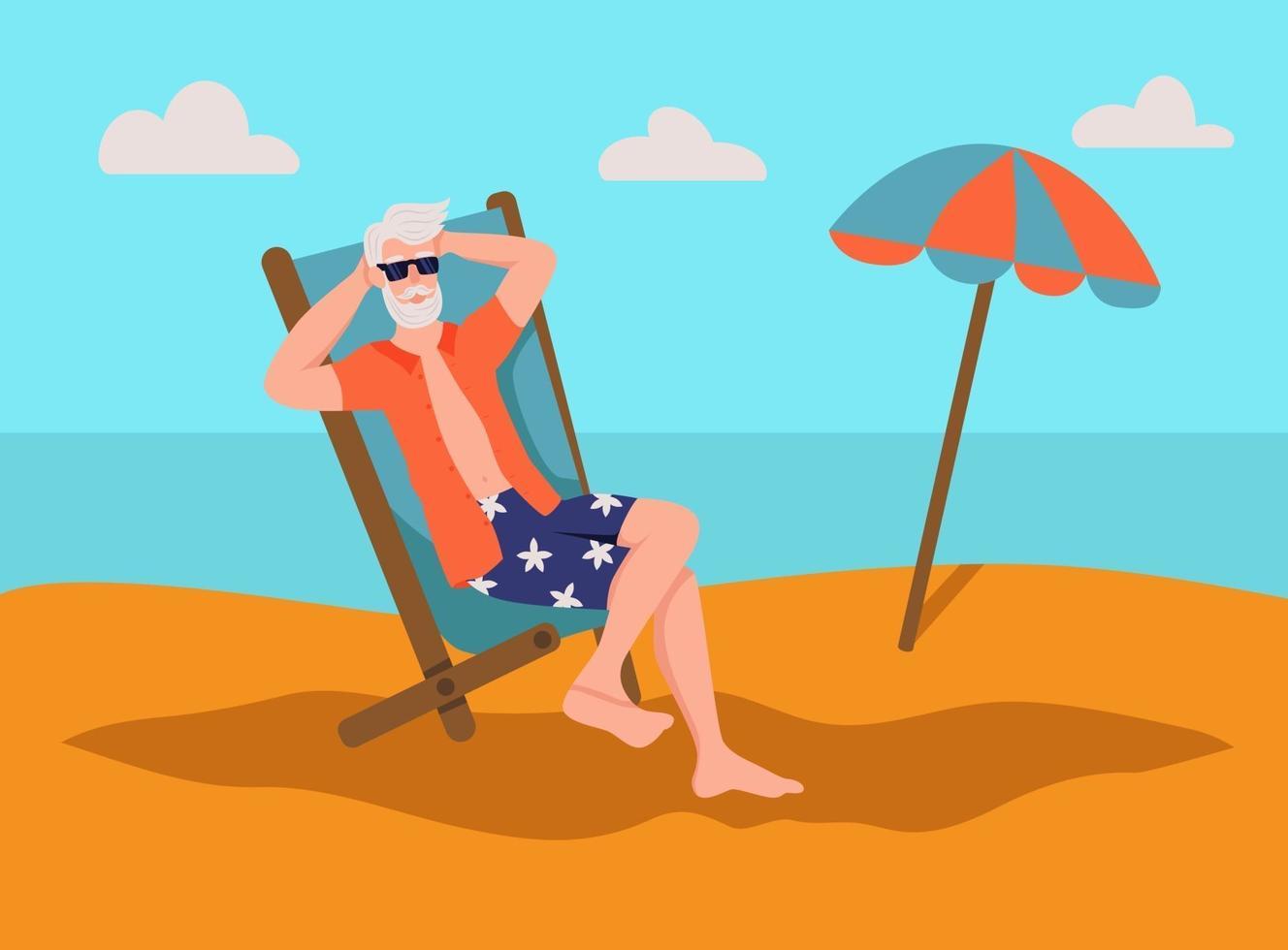 äldre man sola på stranden. begreppet aktiv ålderdom. äldre dag. platt tecknad vektorillustration. vektor