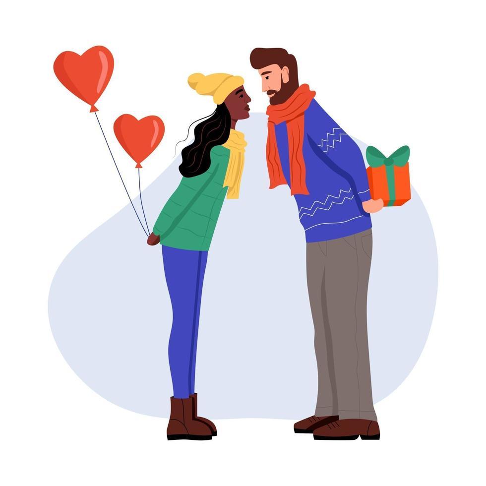 Ein junger Mann und eine Frau in Winterkleidung mit Luftballons und Geschenken in den Händen. Ein verliebtes Paar küsst sich. flache Karikaturvektorillustration. Valentinstag vektor