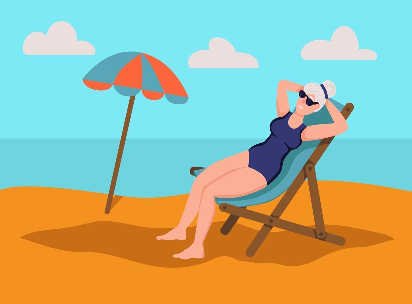 ältere Frau Sonnenbaden am Strand. Das Konzept des aktiven Alters. Tag der älteren Menschen. flache Karikaturvektorillustration. vektor