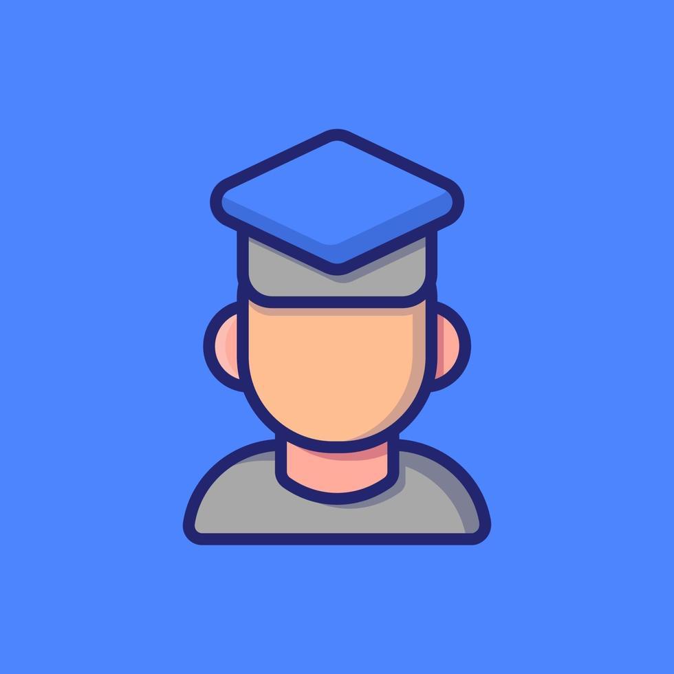 pojke examen vektor ikon illustration. platt tecknad stil lämplig för webbsidor, banner, klistermärke, bakgrund.