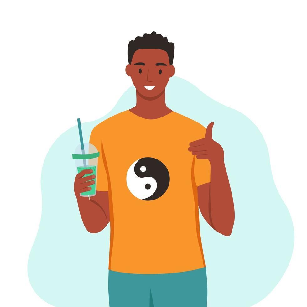 Ein junger Mann trinkt einen Smoothie, frischen Saft und einen Cocktail. das Konzept der richtigen Ernährung, eines gesunden Lebensstils. flache Karikaturillustration. vektor