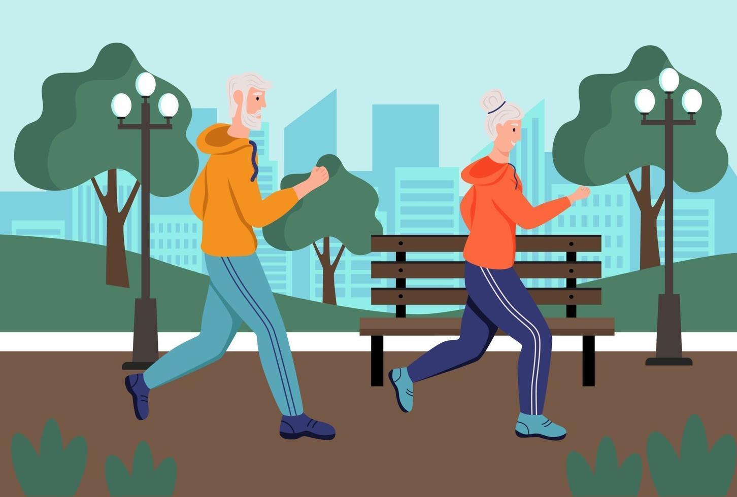 ett äldre par springer i parken. begreppet aktiv ålderdom, sport och löpning. äldre dag. platt tecknad vektorillustration. vektor