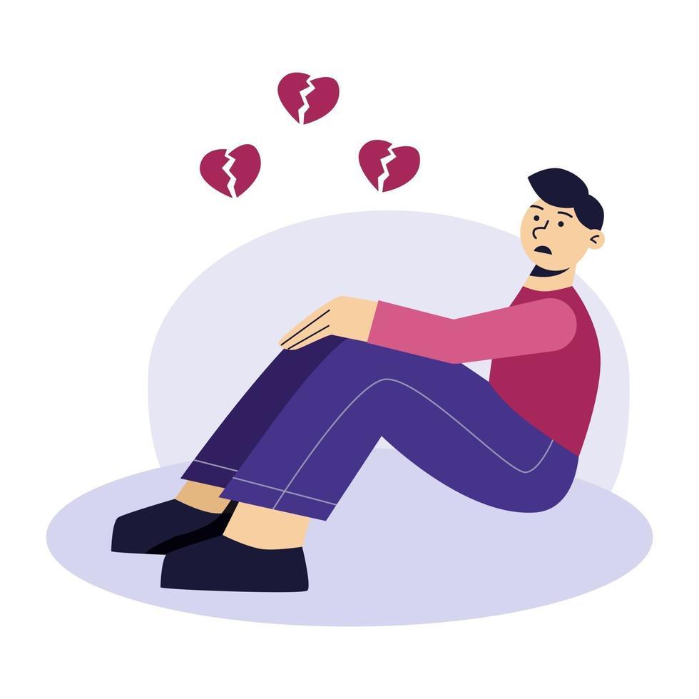 trauriger Mann flacher Charakter. frustrierter junger Mann sitzt auf dem Boden. gebrochenes Herz, unglückliche Liebe. das Konzept von Frustration, Depression, Psychotherapie. vektor