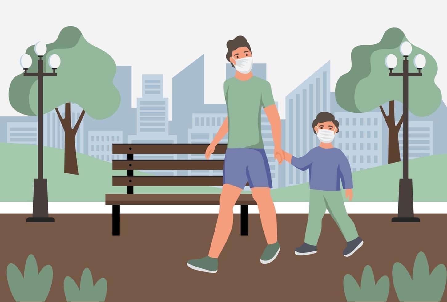 man med barn i skyddande ansiktsdammmasker varg i park. skydd mot luftföroreningar i städer, smog, ånga. koronavirus karantän, andningsvirus koncept. platt tecknad vektorillustration. vektor