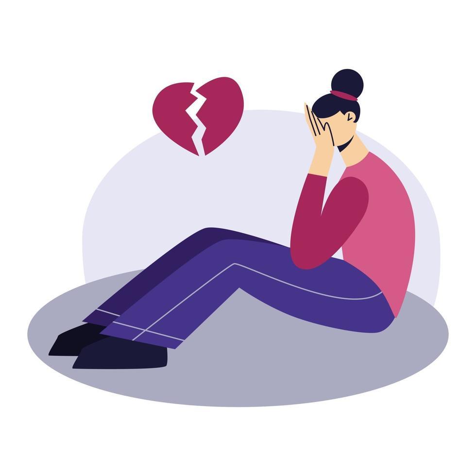 traurige junge Frau, die auf dem Boden sitzt. eine Frau weint. verärgertes Mädchen, das nach unten schaut. Depressionspsychologie-Konzept. flache Zeichenvektorillustration. vektor