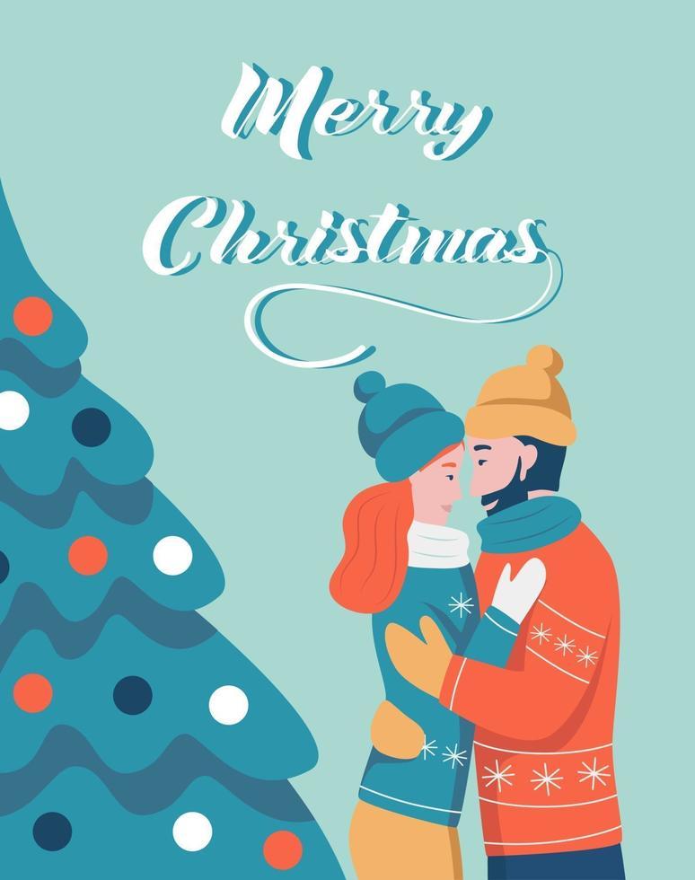 Weihnachtskarte. ein paar umarmungen neben einem weihnachtsbaum. Schriftzug Frohe Weihnachten. Vektorillustration. Banner, Poster, Vorlage. vektor