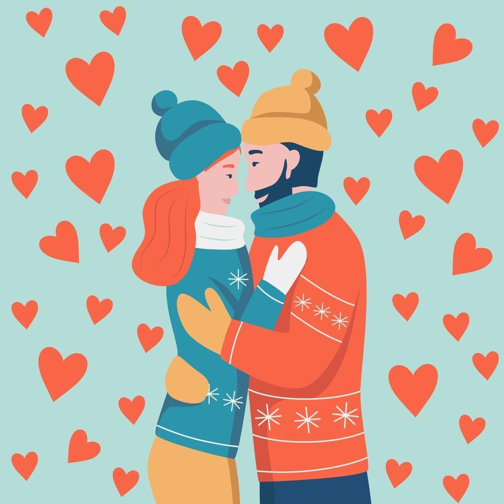Alla hjärtans dagskort. par i kärlek kramar. en man med rött skägg och en kvinna med mörkt hår skrattar och ser på varandra. platt vektorillustration. vektor
