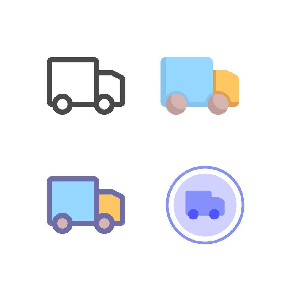 leverans lastbil ikon pack isolerad på vit bakgrund. för din webbdesign, logotyp, app, ui. vektorgrafikillustration och redigerbar stroke. eps 10. vektor