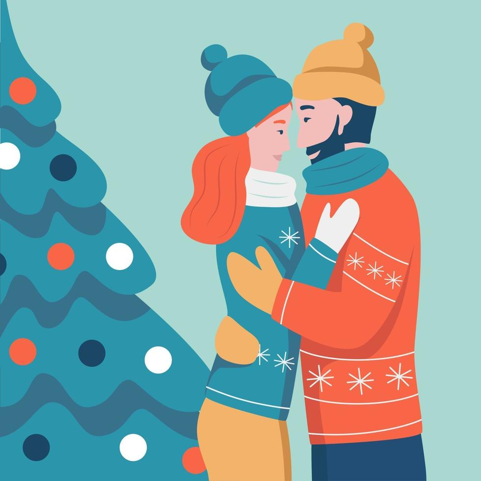 Weihnachtskarte. verliebtes Paar, das auf dem Hintergrund des Weihnachtsbaumes umarmt. flache Vektorillustration. Banner, Poster, Vorlage. vektor