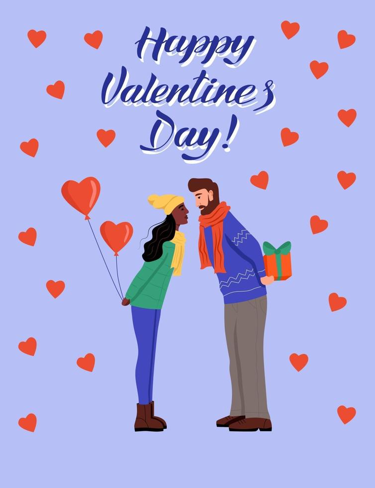 Grußkarte zum Valentinstag. Das Paar tauscht Geschenke aus und küsst sich. Schriftzug zum glücklichen Valentinstag. flache Vektorillustration. vektor