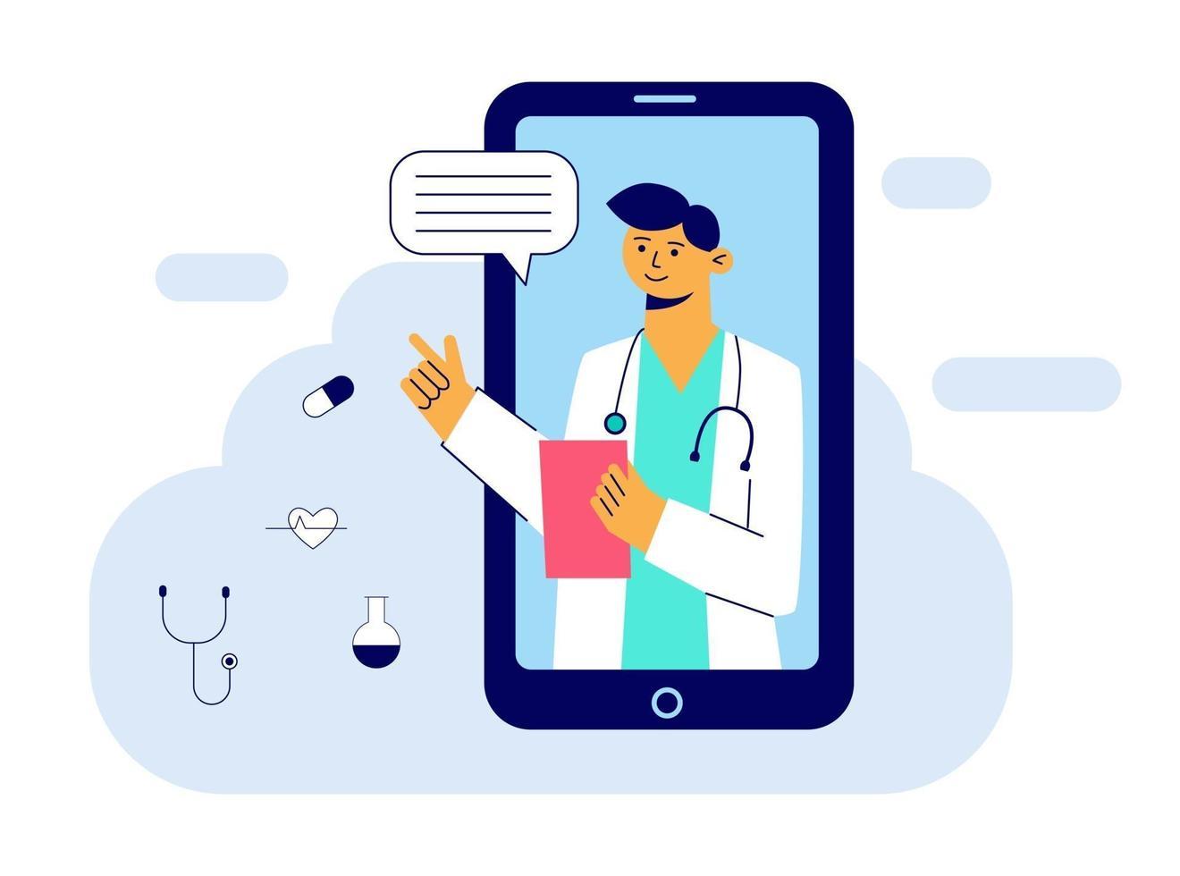 begreppet onlinemedicin och vårdansökan för webbplatsen. medicinsk diagnostik över internet. läkare videosamtal på en smartphone. online medicinsk konsultation. platt vektorillustration vektor