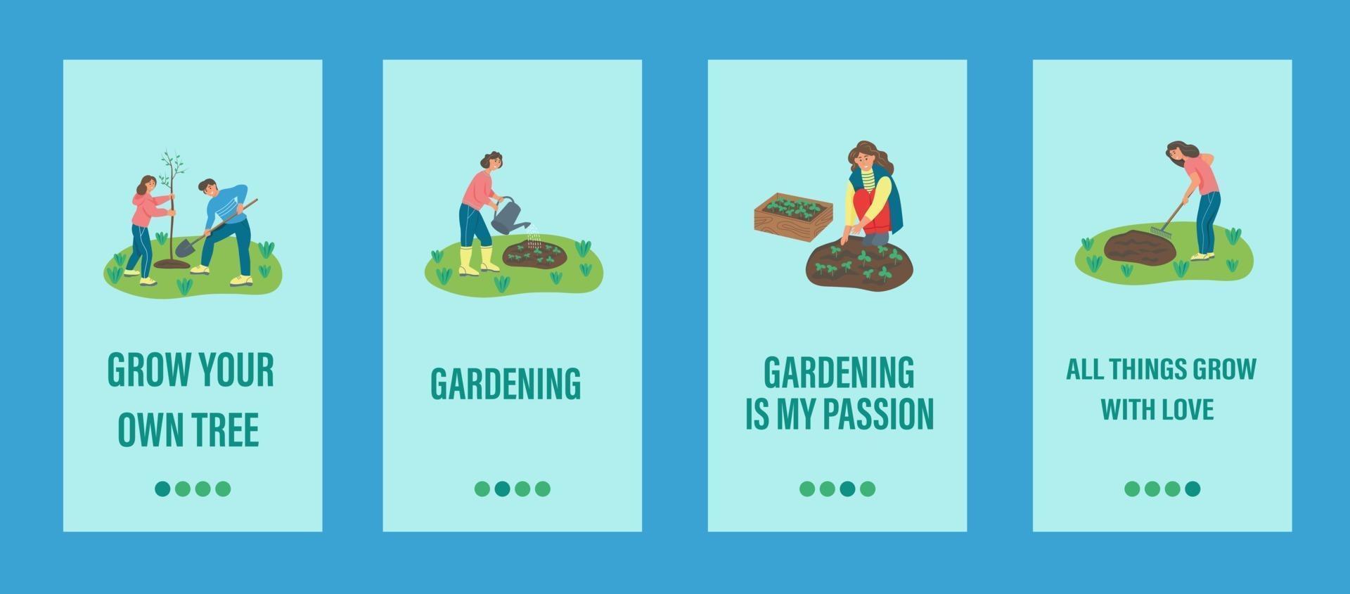 trädgårdsarbete mobil app mall. människor arbetar med trädgårdsskötsel, plantering av träd och växter. platt vektorillustration. vektor