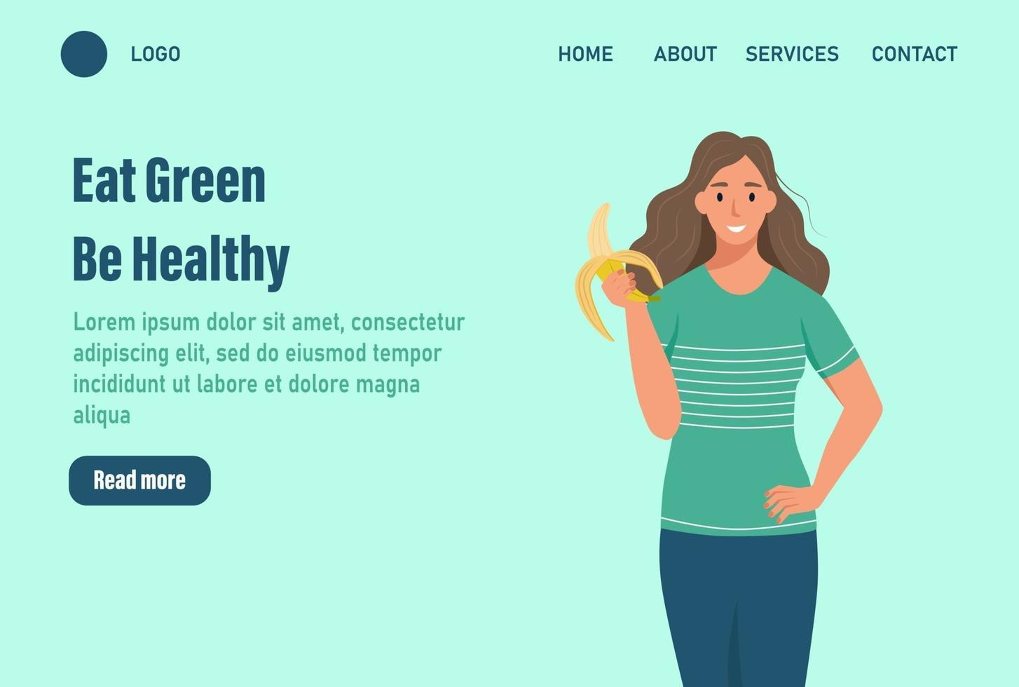 Eine Frau isst eine Bananen-Landingpage. das Konzept der richtigen Ernährung und eines gesunden Lebensstils. Website Homepage Landing Webseite template.vector Illustration vektor