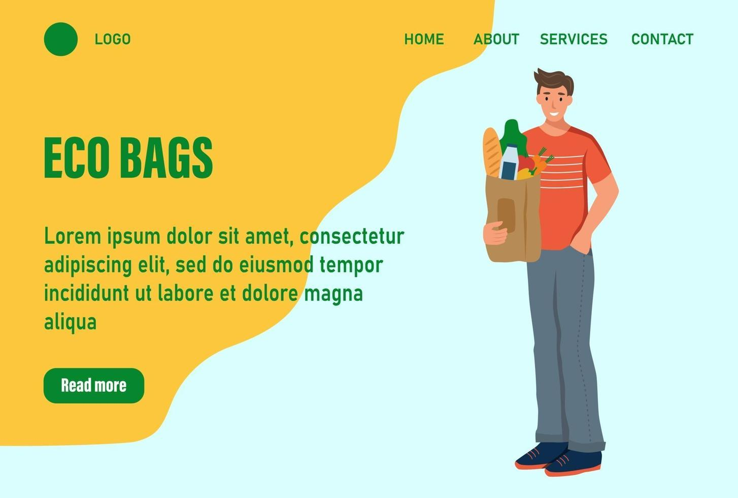 Ein Mann hält eine Tüte mit Landingpage für Lebensmittel. Konzept des Recyclings, der Ökologie, der Naturpflege. Website Homepage Landing Webseite template.vector Illustration vektor
