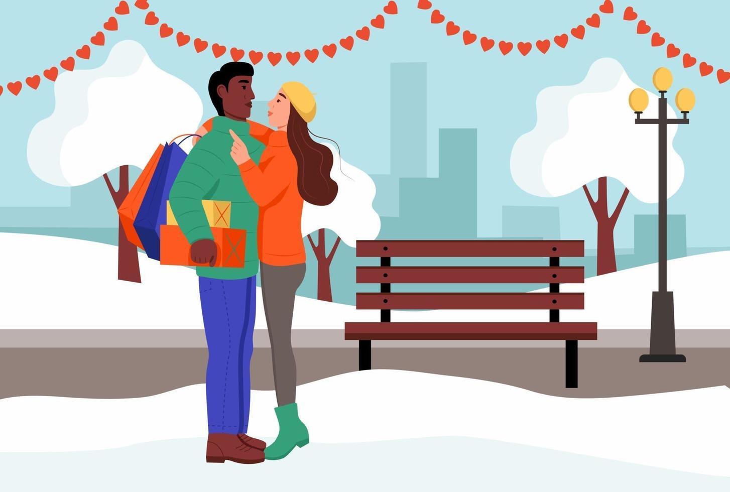 ett kärleksfullt par kramar i en park på alla hjärtans dag. ung man och kvinna med gåvor och paket från butiken. platt vektorillustration. vektor