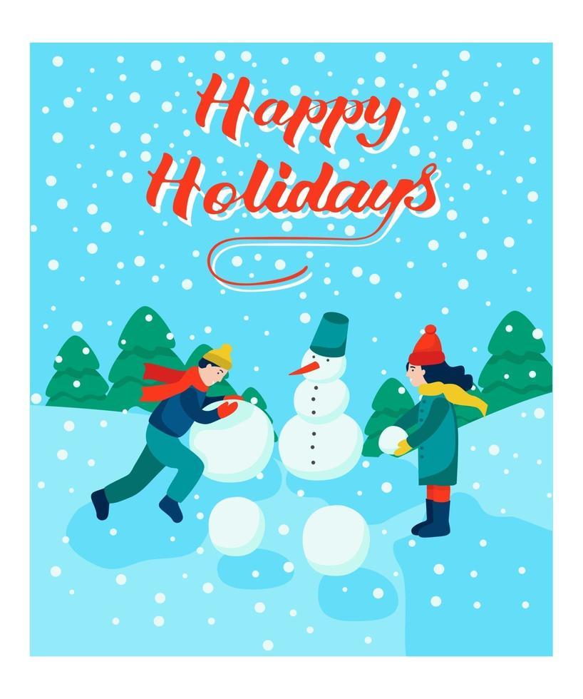 julkort. barn gör en snögubbe. bokstäver glad semester. vektor illustration. banner, affisch, mall.