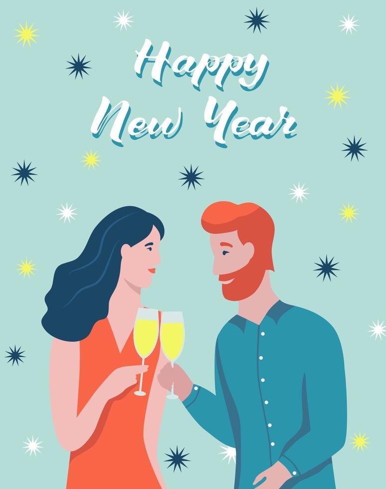 Weihnachtskarte. Das Paar trinkt Champagner. Schriftzug frohes neues Jahr. Vektorillustration. Banner, Poster, Vorlage. vektor