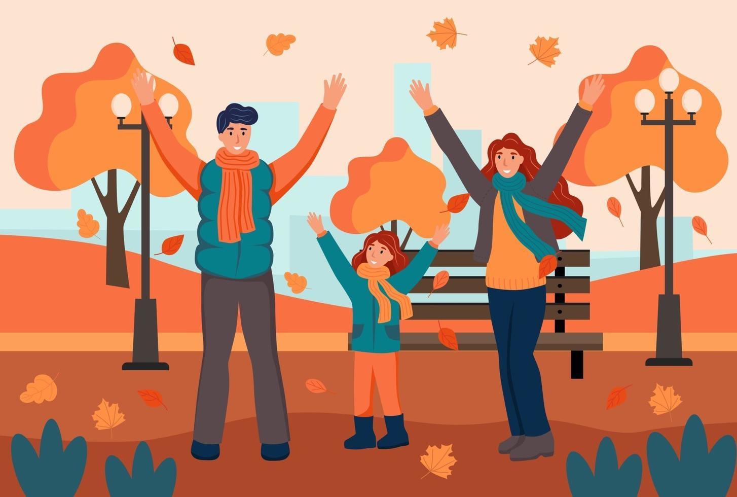 familjen promenader i höst park. pappa, mamma och dotter har kul och kastar löv. platt tecknad vektorillustration. vektor