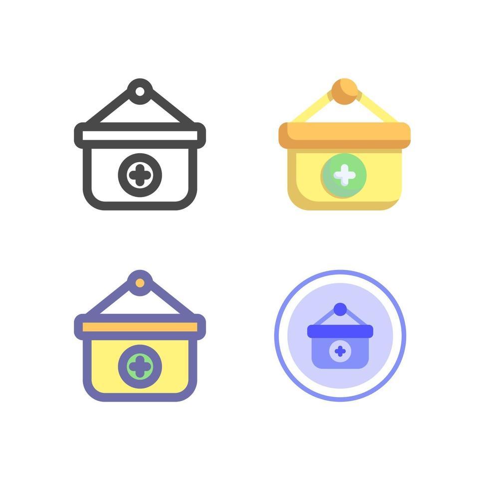 medizinische Tasche Icon Pack lokalisiert auf weißem Hintergrund. für Ihr Website-Design, Logo, App, UI. Vektorgrafiken Illustration und bearbeitbarer Strich. eps 10. vektor