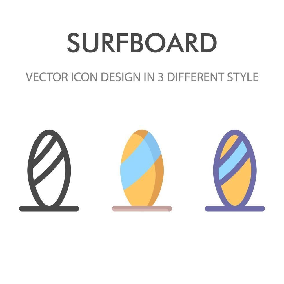 surfbräda ikon pack isolerad på vit bakgrund. för din webbdesign, logotyp, app, ui. vektorgrafikillustration och redigerbar stroke. eps 10. vektor