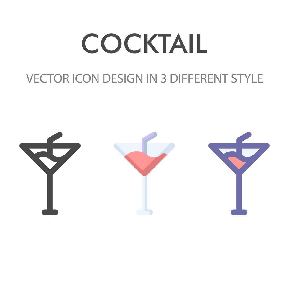 Cocktailikonenpackung lokalisiert auf weißem Hintergrund. für Ihr Website-Design, Logo, App, UI. Vektorgrafiken Illustration und bearbeitbarer Strich. eps 10. vektor