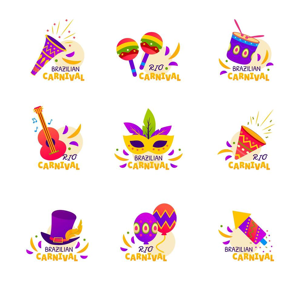 rio karneval fest klistermärke vektor