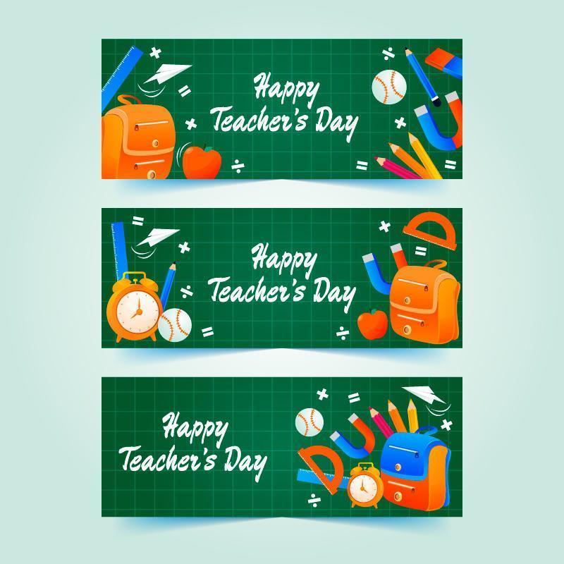 lärarens dag på grön fyrkantig tavlan banner vektor
