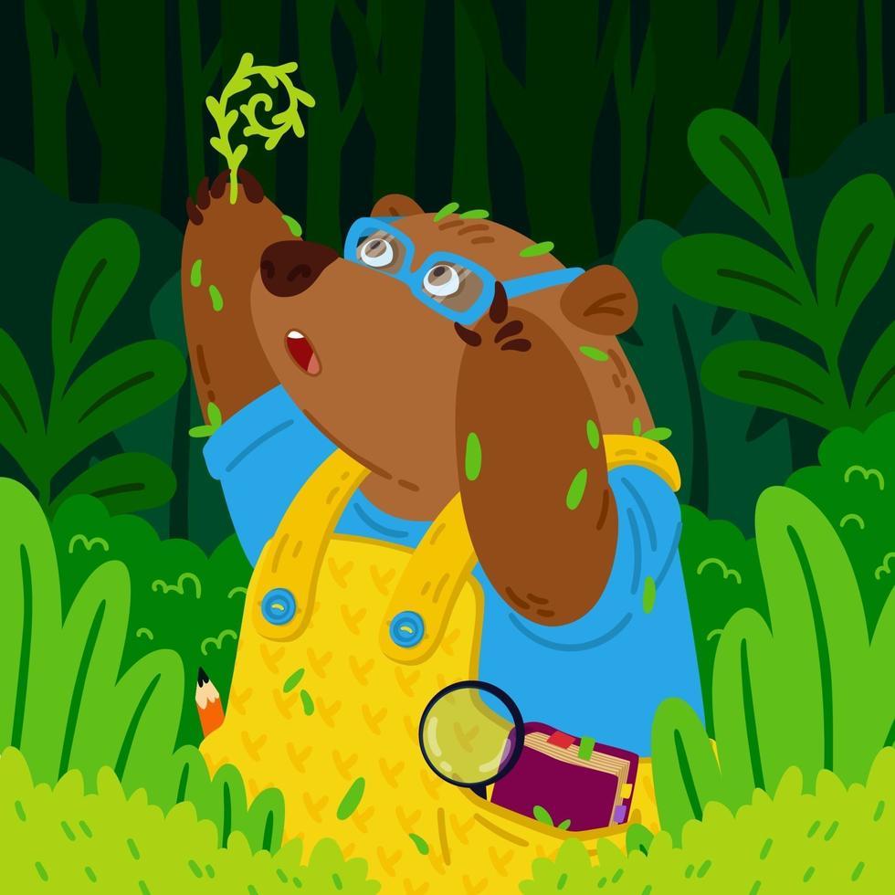 söt björnbotanist i glasögon, utforskar nya växter. trädgårdsskötsel grizzly. djur i skogen. vektor barn illustration för barn böcker och plantskola affisch.