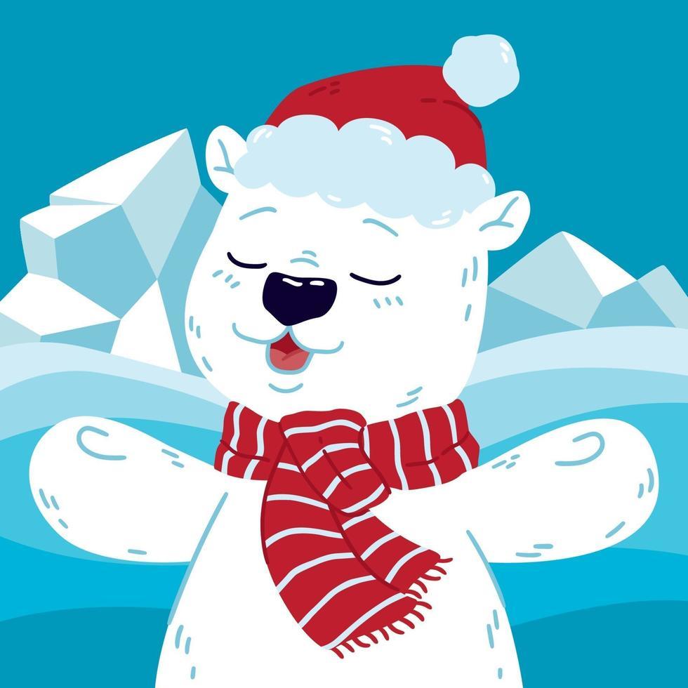 söt isbjörn i norr med jultomten hatt och halsduk. gott nytt år och god jul hälsning vykort. vektor illustration isolerade bakgrund.