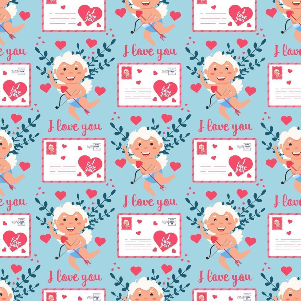 alla hjärtans cupid kärlek ängel sömlösa mönster. söt pojke eller flicka cupid. flygande ängel vektor
