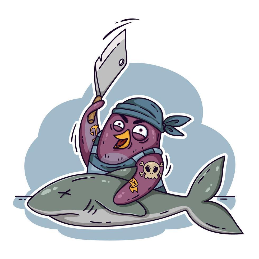 galen piratpingvin skär en haj med en klyfta. laga mat på fartyget och laga fisk. rolig fågel vektorillustration isolerad på vit bakgrund i doodle stil. vektor
