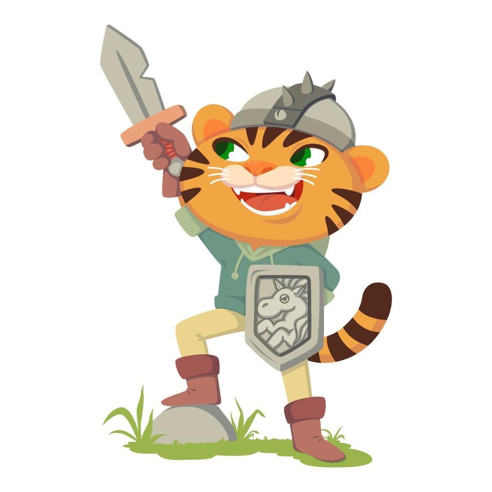 puss i stövlar saga karaktär. tiger med svärd, sköld och hjälm. katt i en dräkt av en medeltida krigare, riddare. vektorillustration isolerad på vit bakgrund. vektor