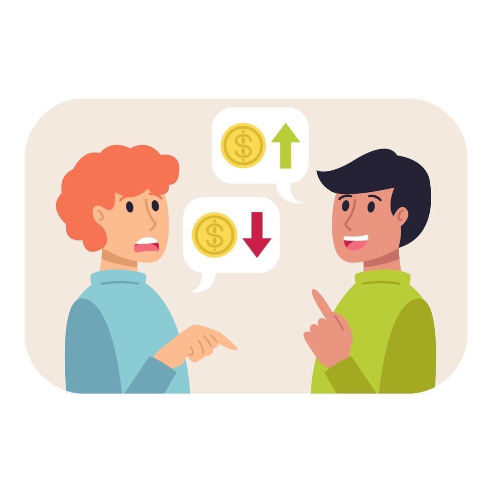 positiv och negativ dynamik i ekonomin. problemet med att öka och minska inkomsterna. valutaprisdynamik. platt stil vektor affärsfinans koncept. växelkursen hoppar.