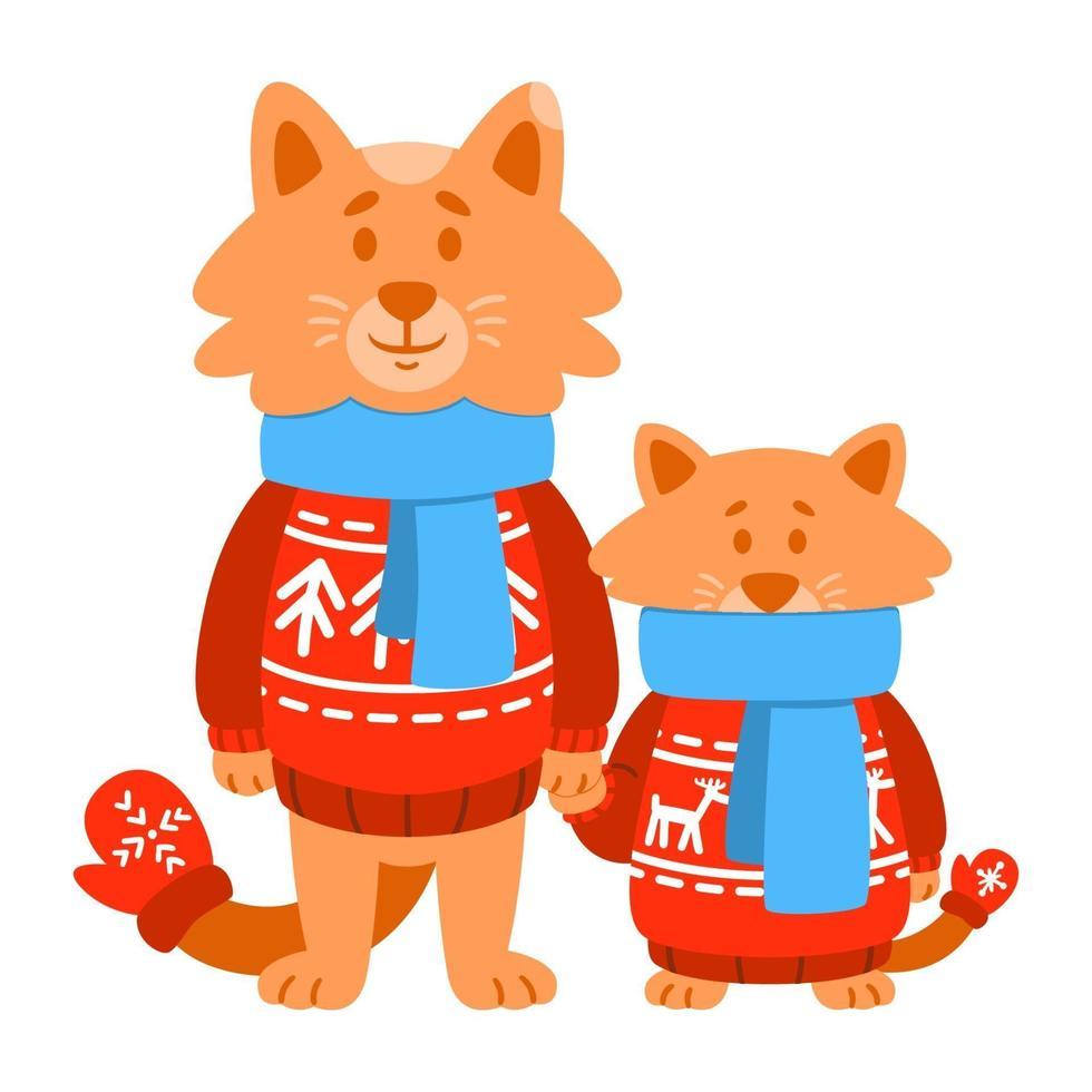 Katzensohn und -vater tragen roten Strickpullover, Schal, Fäustlinge. niedliche Zeichentrickfigur. Vektorillustration lokalisiert auf weißem Hintergrund. vektor