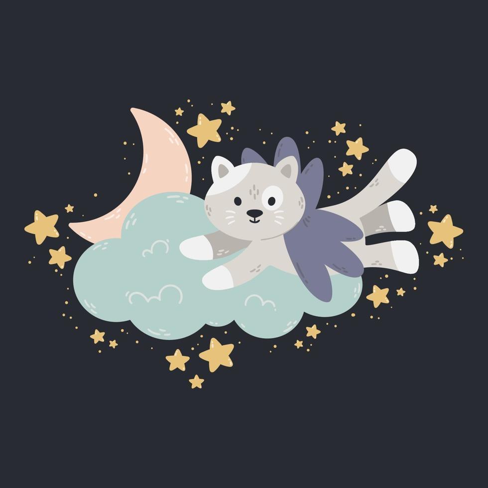 söt affisch med månen, stjärnor, moln på en mörk bakgrund. vektor tryck för baby rum, gratulationskort, barn och baby t-shirts och kläder, kvinnor bär. söta drömmar handritad plantskolaillustration.
